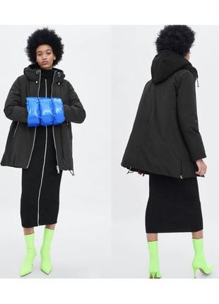 Новая чёрная куртка парка zara