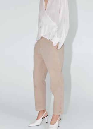 Новые бежевые джинсы zara5 фото