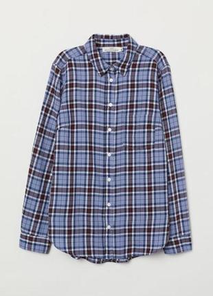 Новая хлопковая рубашка в клетку h&m