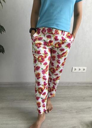 Красивые хлопковые штаны брюки с цветами victoria's secret