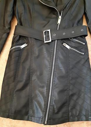 Удлиненная куртка косуха, плащ тренч от flamant rose3 фото
