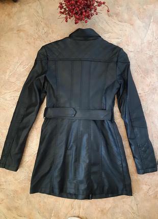 Удлиненная куртка косуха, плащ тренч от flamant rose2 фото