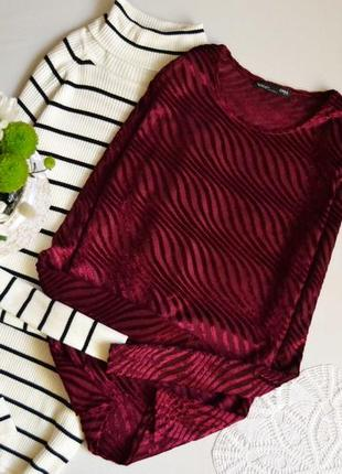 Блуза велюрова винного кольору zara