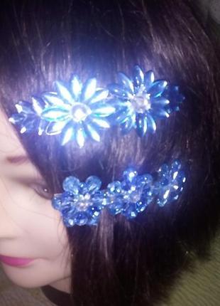Красивая голубая заколка автомат/бижутерия/резинка/украшения для волос/заколка