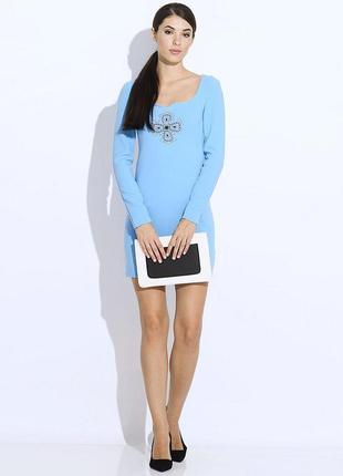 Наряднейшее женственное платье небесно- голубого цвета, oodji