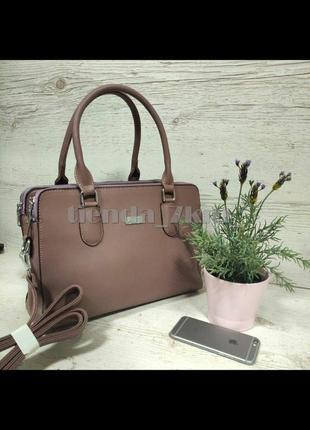 Женская повседневная сумка на три отделения d-9812 розовая