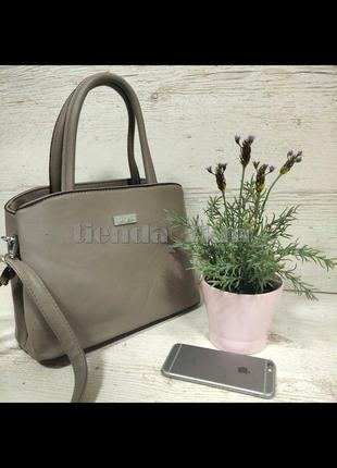 Женская сумка небольшого размера d-9803 серо-бежевая