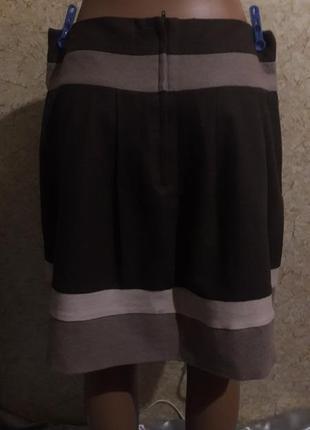 Теплая фланелевая юбка в коричнево-бежевых тонах3 фото