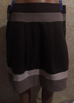 Теплая фланелевая юбка в коричнево-бежевых тонах