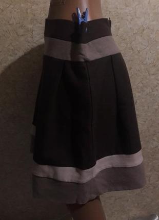 Теплая фланелевая юбка в коричнево-бежевых тонах2 фото