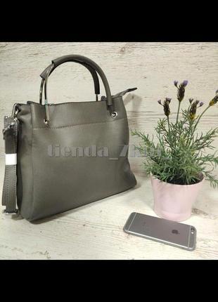 Женская сумка небольшого размера с железными ручками 9801-1 серая