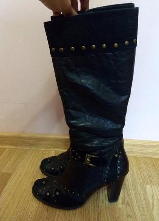 Кожаные высокие сапоги,сапожки на каблуке+подарок джемпер balenciaga