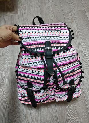 Крутой женский яркий рюкзак с кожаными лямками торба тканевый