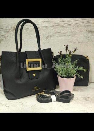 Женская сумка с кометичкой 2в1 без подклада f-466 черная