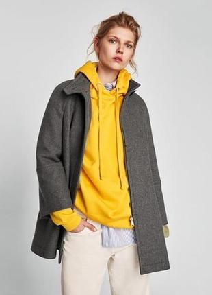 Шерстяное пальто манто свободного кроя от zara
