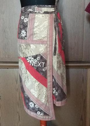 Юбка next ассиметричная,назапах,жаккардовое плетение.без подкладки