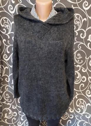 Удлиненный свитер джемпер  с капюшоном 20%мохер schild