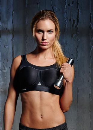 34в 75в*pure lime*черный спортивный бюстгальтер,compression bra high impact (black)