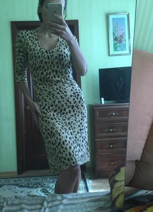 Леопардовое платье с рукавом шерстяное платье