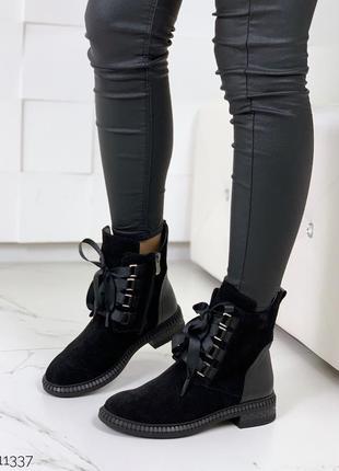 Стильные ботиночки деми из натуральной кожи и замши