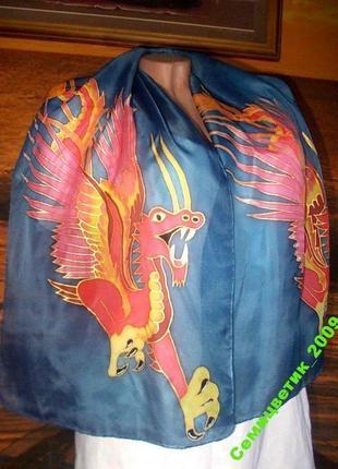 Распродажа! шарф натуральный шелк авторская роспись - унисекс