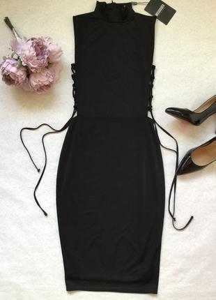 Платье вечернее коктейльное миди со шнуровкой missguided 10 размер