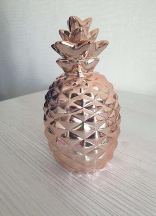 Статуэтка - копилка ананас в цвете розовое золото!