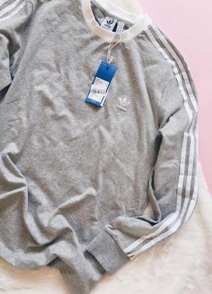 Новый серый свитшот{лонгслив/кофта} адидас оригинал большого размера