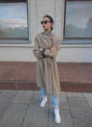 Тренч плащ тренчкот пальто оверсайз винтаж минимализм4 фото