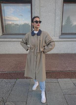 Тренч плащ тренчкот пальто оверсайз винтаж минимализм7 фото
