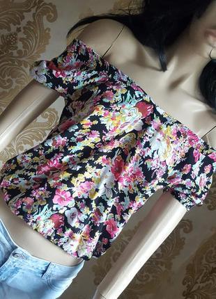 Штемпельная блуза в цветочный принт