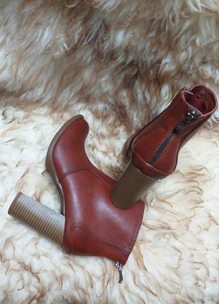 Кожаные ботинки ботильены на устойчивом каблуке с замочками на пятке