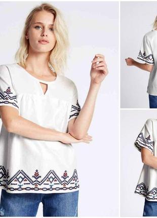 Брендовая вышиванка нежнейшая плотная вышитая блуза из хлопка marks & spencer