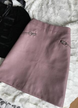 """Кожаная юбка с карманами а-силуэт, пудровая юбка трапеция, юбка на талию """"пыльная роза"""""""