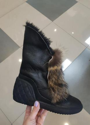 Кожаные, натуральные угги , зимние ботинки