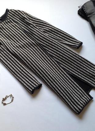 Длинный кардиган пиджак в полоску