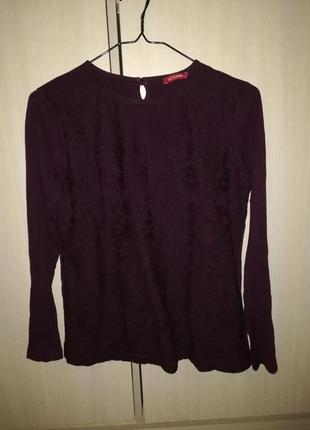 Повседневная блуза с длинным рукавом глубокого фиолетового цвета