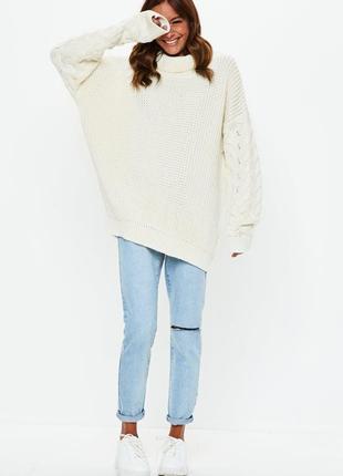 Объемный  удлиненный оверсайз свитер крупной вязки missguided ms421