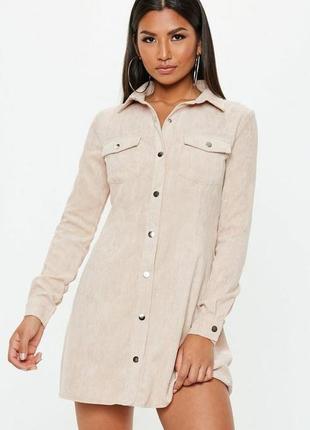 Вельветовое платье-рубашка на кнопках бежевое missguided ms409