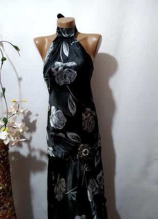 Нарядное платье с открытой спинкой в принт1 фото