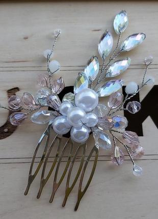 Свадебное украшение для волос ручной работы гребень