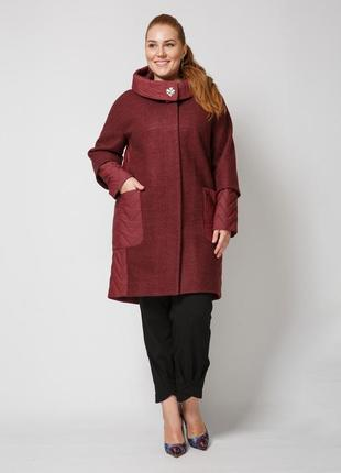 Комбинированное бордовое демисезонное пальто из вареной шерсти батал
