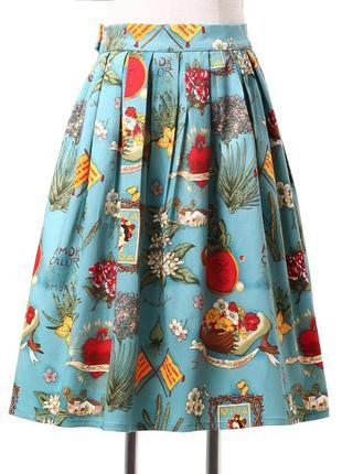Винтажная миди юбка frida kahlo фрида кало с карманами