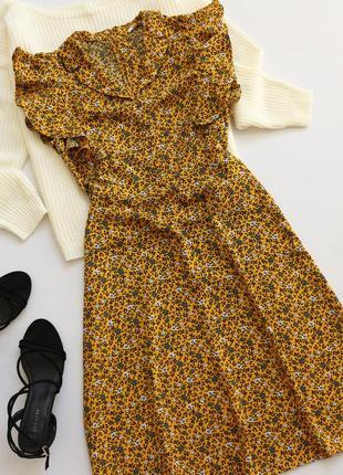 Симпатичное платье миди  в цветочный принт