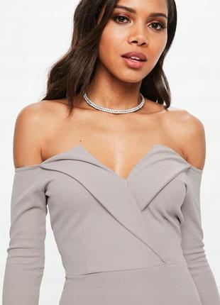 Missguided сіра сукня декольте орігамі м-л