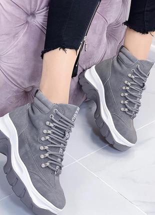 Новые шикарные женские серые осенние ботинки5 фото