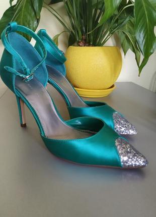 Лодочки туфли праздничные яркие атлас