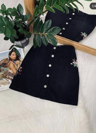 Юбка з вишивкою від denim co🖤🖤🖤1 фото