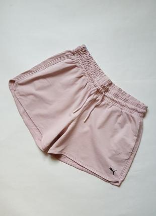 Шикарные хлопковые шорты puma,спортивные женские шорты пудрового цвета,фирменные шорты