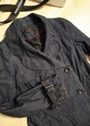 Шикарный джинсовый стильный плащ трэнч